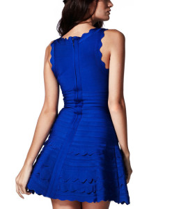 Bandage Bodycon Kleid ausgestellter Rock blau