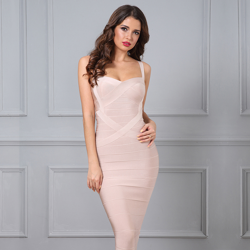 77d6cb2a98db Bandage Kleid beige Midi – noomi