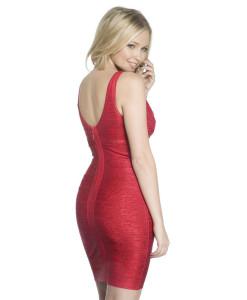 Bandage Bodycon Kleid rot glänzend