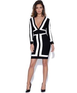 Bandage Bodycon Kleid Mini schwarz-weiss
