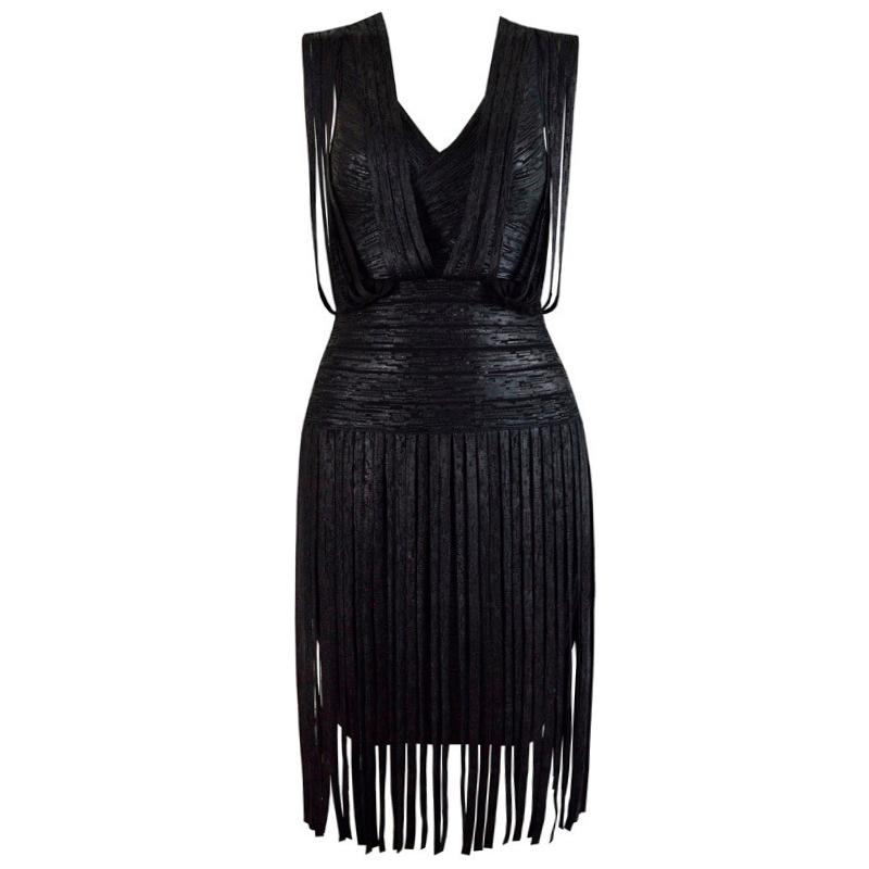 Bandage Bodycon Kleid Mini schwarz