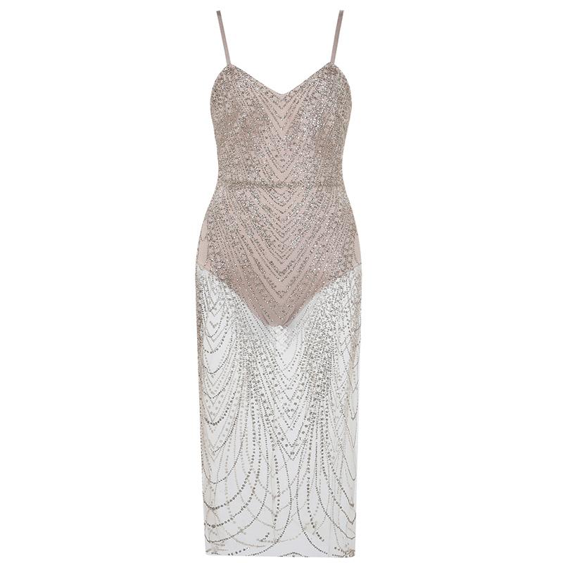Bandage Kleid beige Strass