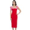 Bandage Kleid rot pinke Masche