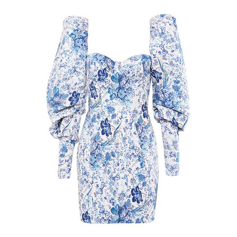 Kleid Jacuard blumig blau