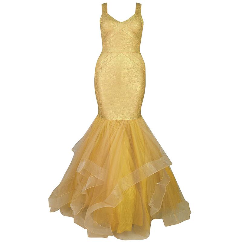Abendkleid bodenlang gold